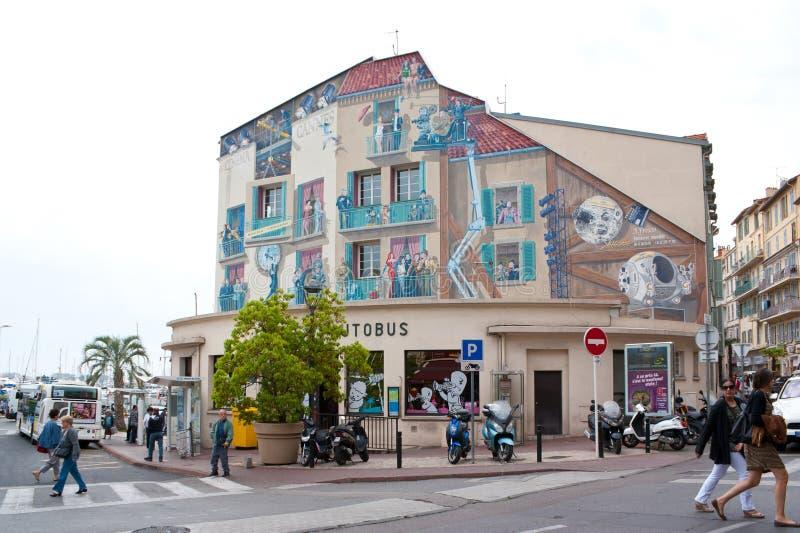 Cannes central bussstation royaltyfria bilder