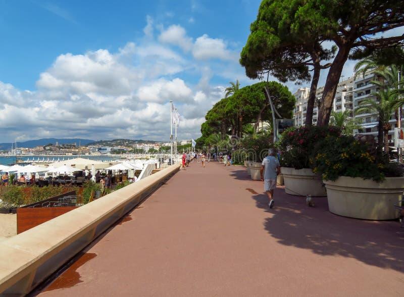 Cannes, Deptak - De Los angeles Croisette obrazy stock