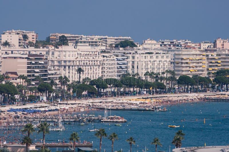 Cannes en La Croisette stock foto's