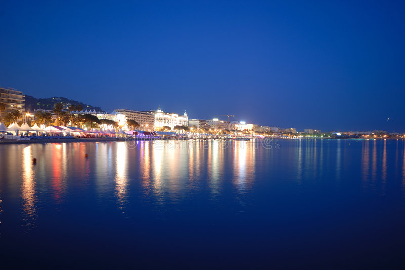 Cannes festival by night. ( south of france, europe royalty free stock images