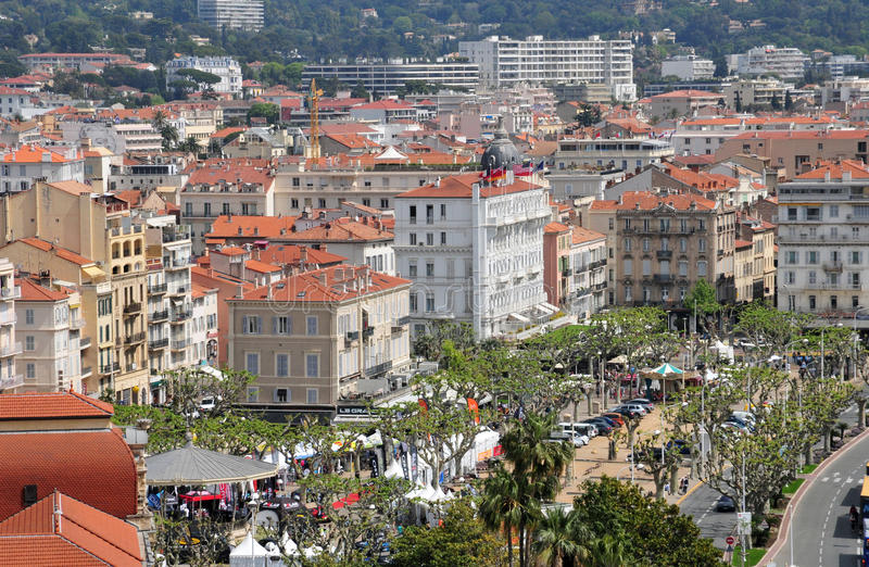 Cannes, France - april 17 2016 : city center royalty free stock photo