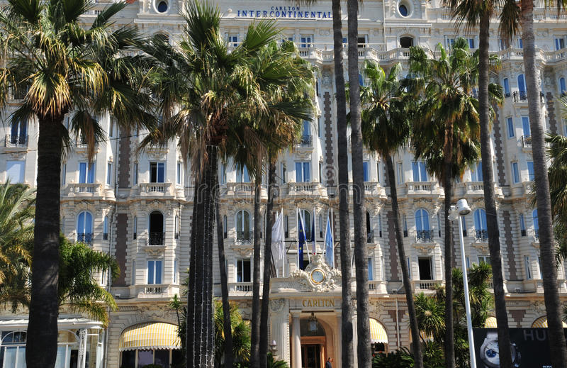 Cannes, Francia - 15 de abril de 2016: Carlton fotografía de archivo libre de regalías