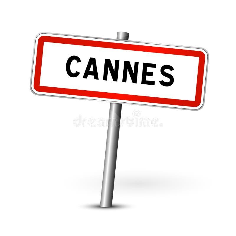 Cannes Francja signage deska - miasto drogowy znak - royalty ilustracja