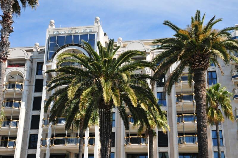 Cannes Frankrike - april 15 2016: lyxigt hotell arkivfoton