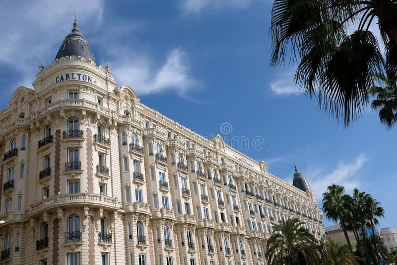 Cannes Frankrike - Oktober 25, 2017: hörnsikten av det berömt gör arkivbild