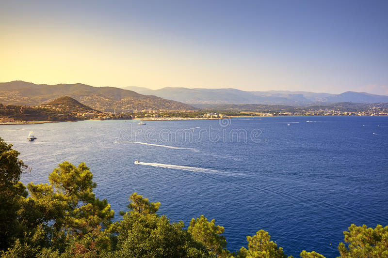 Cannes La Napoule bay view. French Riviera, Azure Coast, Provence. Cannes and La Napoule panoramic sea bay view, yachts and boats from Theoule sur Mer. French royalty free stock photos