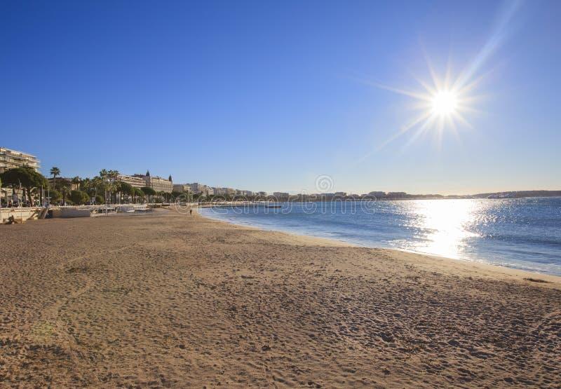 Cannes linia brzegowa i deptak, Cannes fotografia royalty free