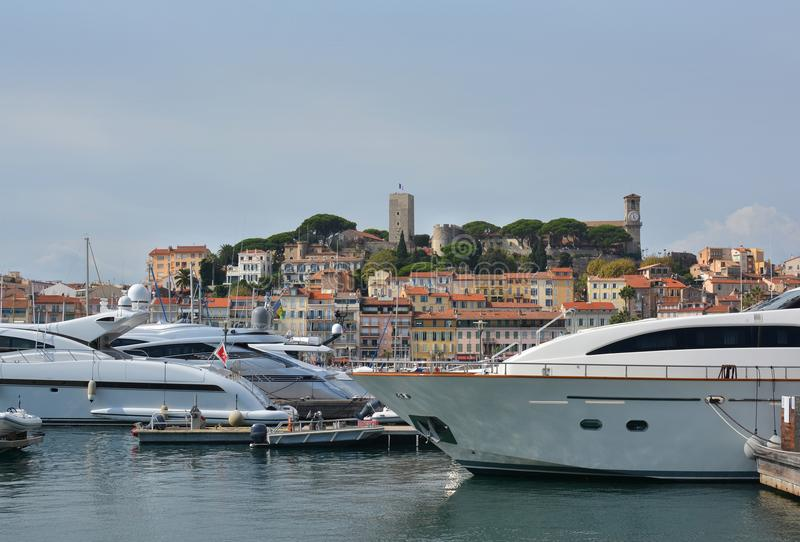 Cannes Marina, Hill & Buildings, Provence France royalty free stock images