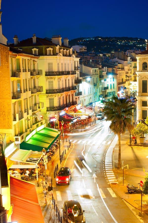 Cannes på natten royaltyfria bilder