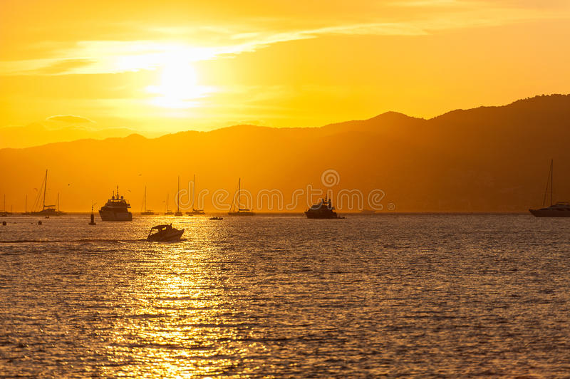 Cannes sunset royalty free stock images