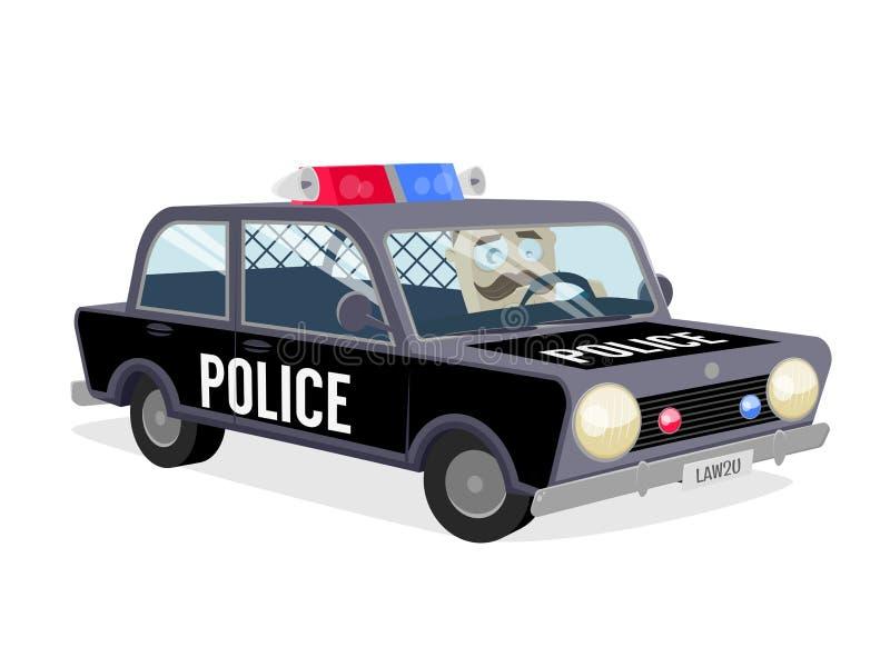 Cannette de fil conduisant la voiture de police illustration stock