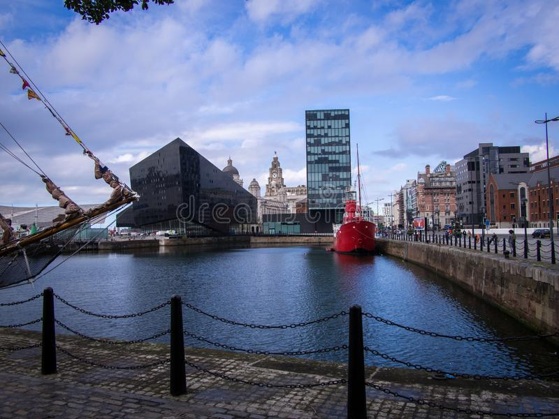 Canning Dock Liverpool, Mersey Bar Ship Lightship. Canning Dock, The Liver Building and The Mersey Bar lightship royalty free stock photos