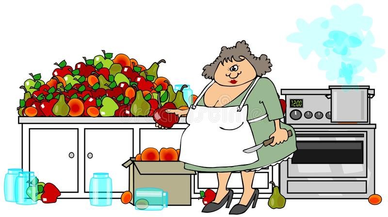 Canning fruit. This illustration depicts a woman wearing an apron and holding a paring knife while peeling and canning a mountain of fruit in her kitchen stock illustration