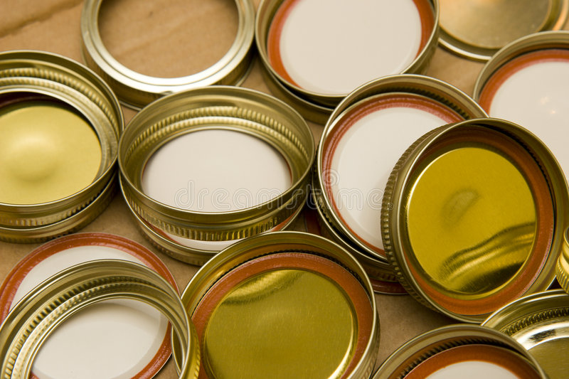 Download Canning lids stock photo. Image of gold, home, round, table - 6080698