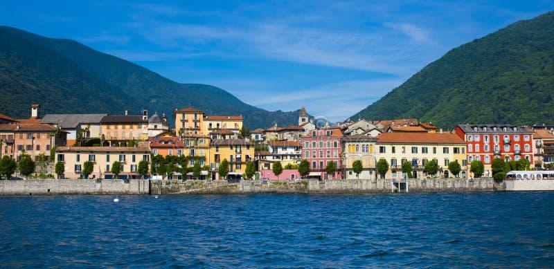 Cannobio - Lago Maggiore, Verbania, Piemont, Italy. View of the old town promenade of Cannobio - Lago Maggiore, Verbania, Piemont, Italy stock images