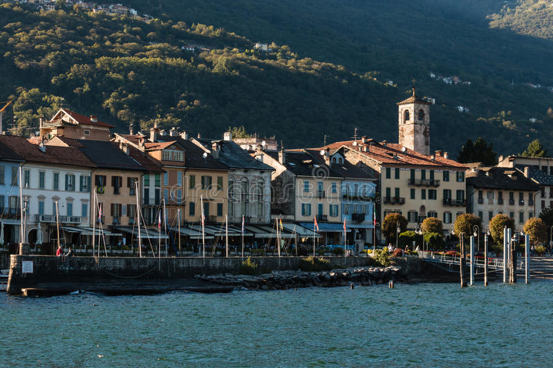 Cannobio from lake Maggiore. View of Cannobio from lake Maggiore royalty free stock photos