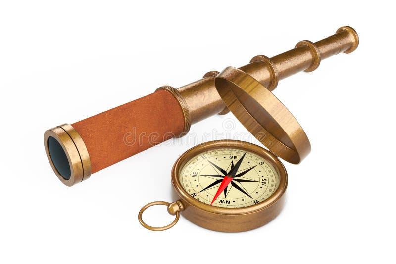 Cannocchiale d'annata dorato del telescopio con la bussola rappresentazione 3d illustrazione di stock