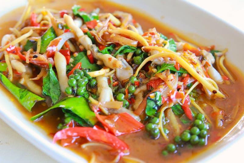 Cannolicchio piccante, frutti di mare tailandesi immagini stock
