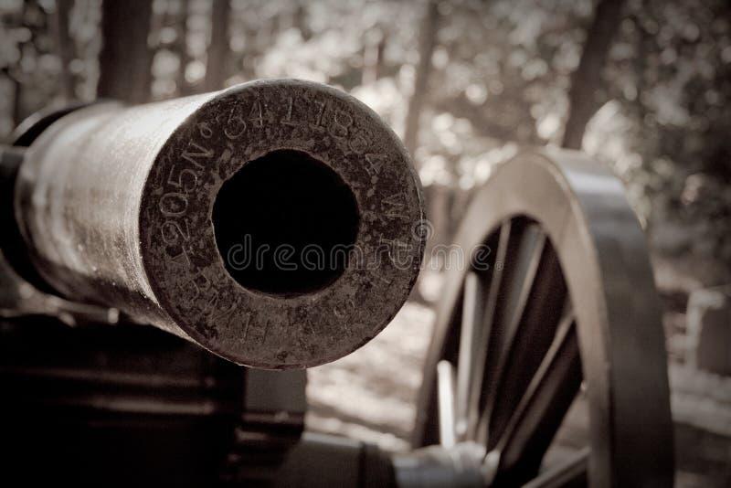 Cannon Barrel. Monochrome closeup of Civil War cannon barrel stock photography