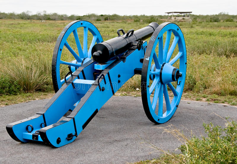 Cannon on battlefield. A blue color field cannon in Palo Alto Battlefield Historic site which preserves the battlefield for the first major battle (May 8, 1846) royalty free stock photography