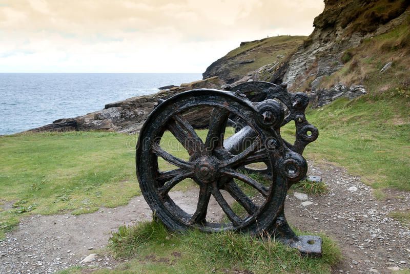 Cannon in Camelot. Remains of a cannon of King Arthur at Tintagel in Cornwall stock image