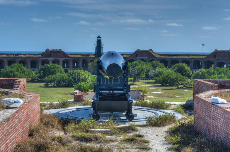 Cannon in Fort Jefferson, Florida. Cannon in Fort Jefferson at the Dry Tortugas National Park, Florida royalty free stock photos