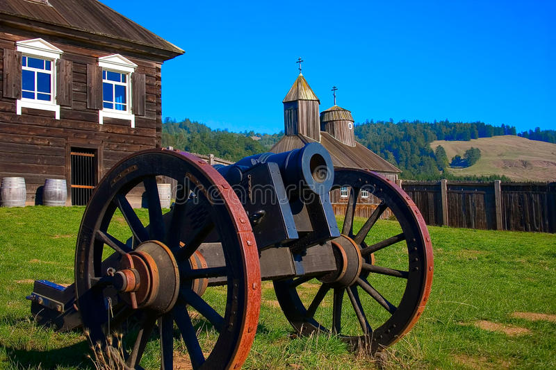 Cannon in Fort Ross inner square, California royalty free stock images