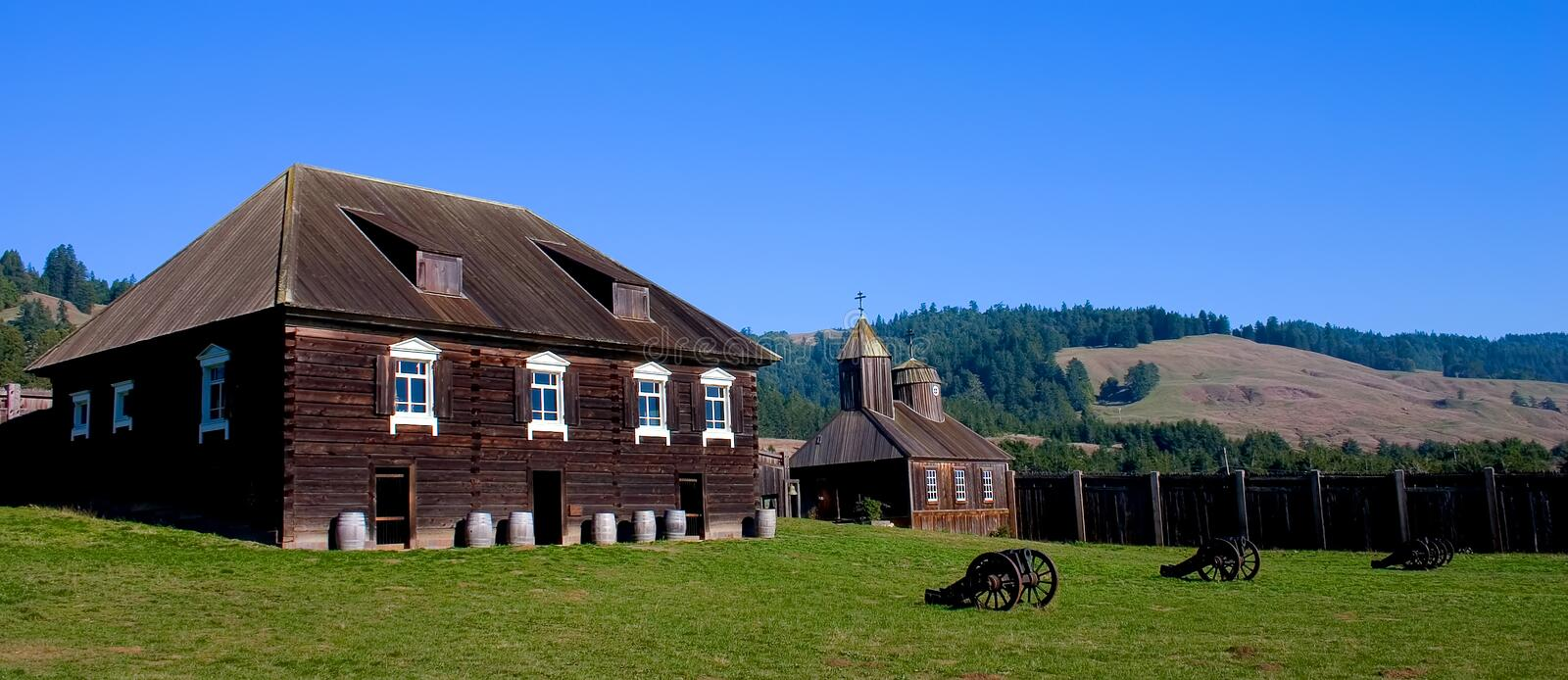 Cannon in Fort Ross inner square, California royalty free stock photos