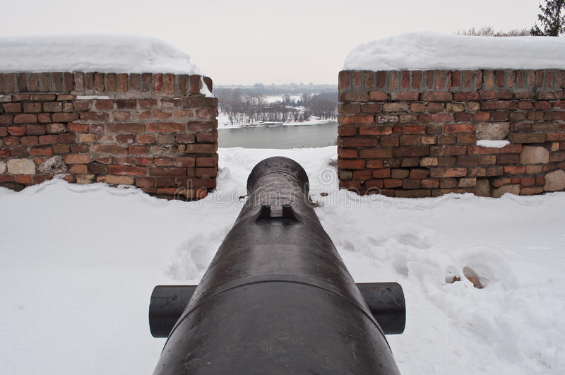 Cannon. At the fortress Kalemegdan during the winter. Fortress is above estuary two rivers. river Sava and the Danube river in Belgrade Serbia .in those times royalty free stock images