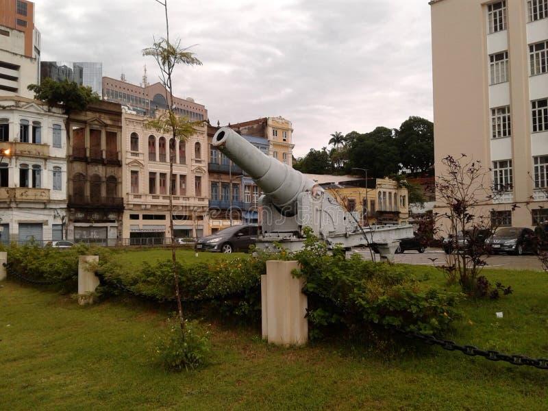 Cannon in front of navy building entrance Pio X Square Rio de Janeiro Downtown Brazil. Cannon in front of navy building entrance Pio X Square Rio de Janeiro stock photos