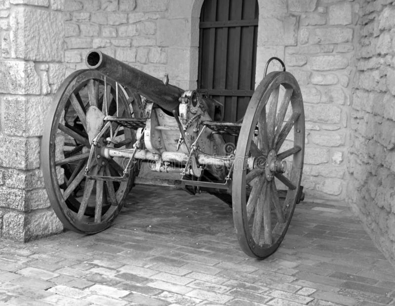 Cannon in Guaita fortress is one of three peaks. REPUBLIC OF SAN MARINO 05 24 2019: Cannon in Guaita fortress is one of three peaks which overlooks the city of royalty free stock photo