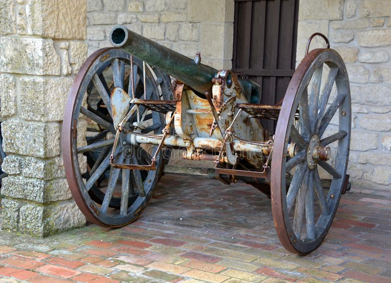 Cannon in Guaita fortress is one of three peaks. REPUBLIC OF SAN MARINO 05 24 2019: Cannon in Guaita fortress is one of three peaks which overlooks the city of stock image
