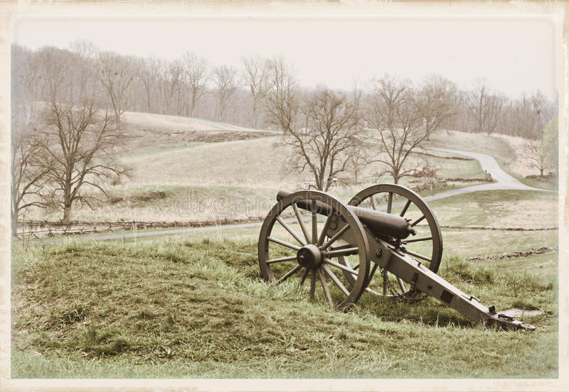 Cannon on the hill stock image