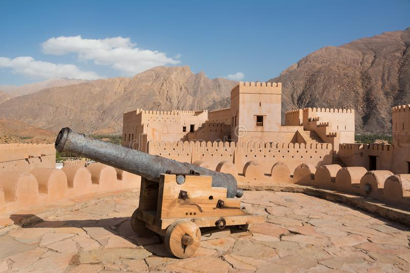 Cannon in Nakhal fort. Oman royalty free stock images