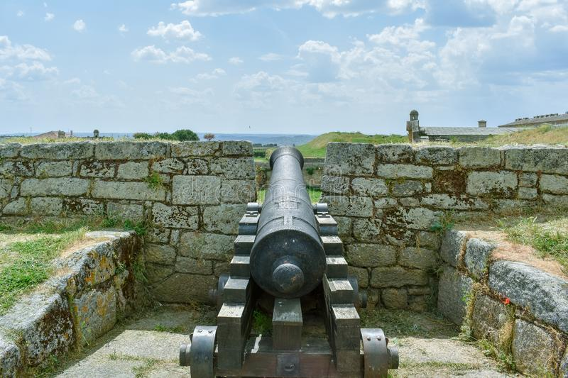 Cannon in an old fortress, Almeida Portugal stock photos