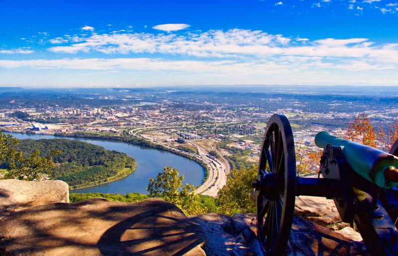 Cannon Overlooking Chattanooga Tennessee stock photos