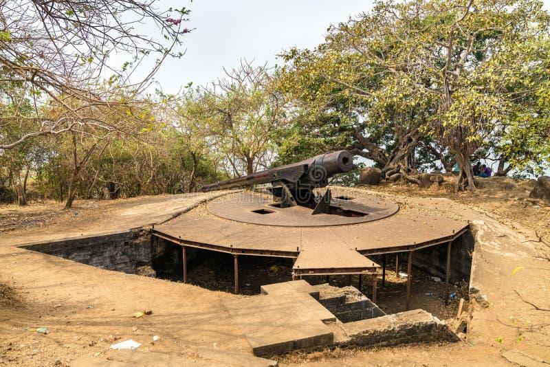 Cannon Point on Elephanta Island - Mumbai Harbour, India. Cannon Point on Elephanta Island in Mumbai Harbour - Maharashtra, India stock photography