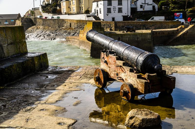 Porthleven Cannon royalty free stock image