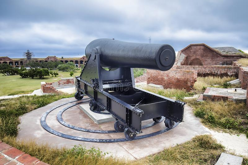 Fort Jefferson Rooftop Cannon stock image