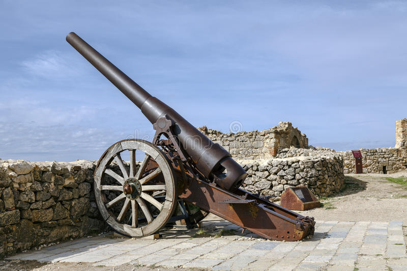 Cannon Shooting Tower in Morella Castle, Spain. Morella, Spain - October 16, 2016: An Industrial Artillery Piece at the Morella Castle This canon was Placed in stock photo