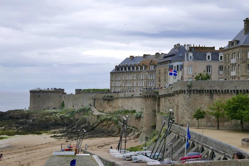 Cannon in St Malo ramparts. The ramparts surround the town of Saint Malo in Brittany stock photos
