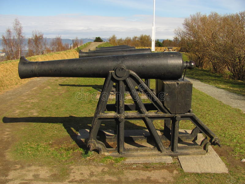 Cannon. From Trondheim - Norway Kristiansten fortress royalty free stock photo