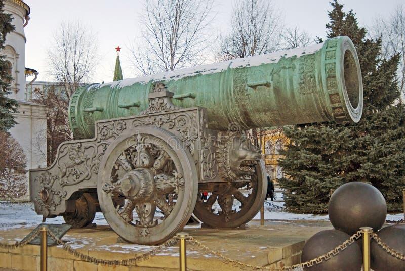 Cannon Tsar在克里姆林宫显示的Pushka国王 免版税库存图片