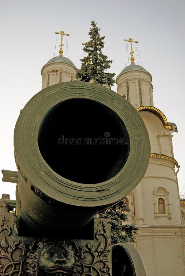 Cannon Tsar在克里姆林宫显示的Pushka国王 图库摄影