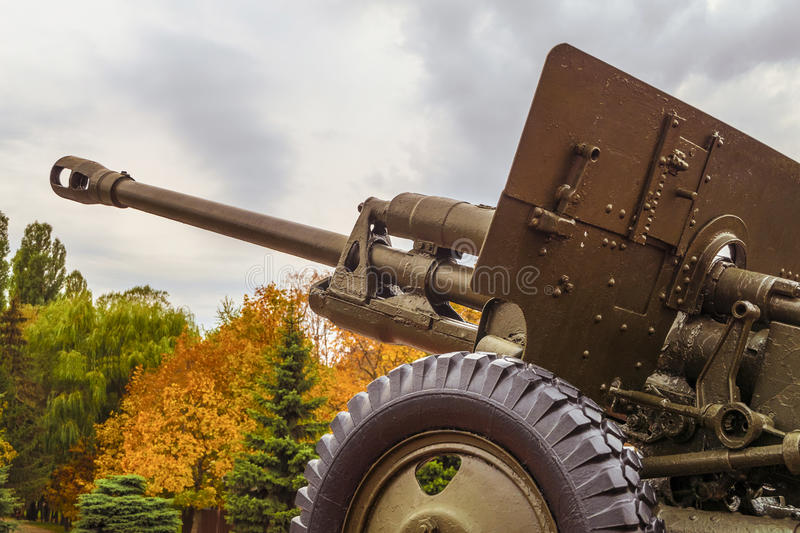 Cannon. Vintage artillery barrel cannon. Military heavy artillery. Photo with limited depth of field stock photos