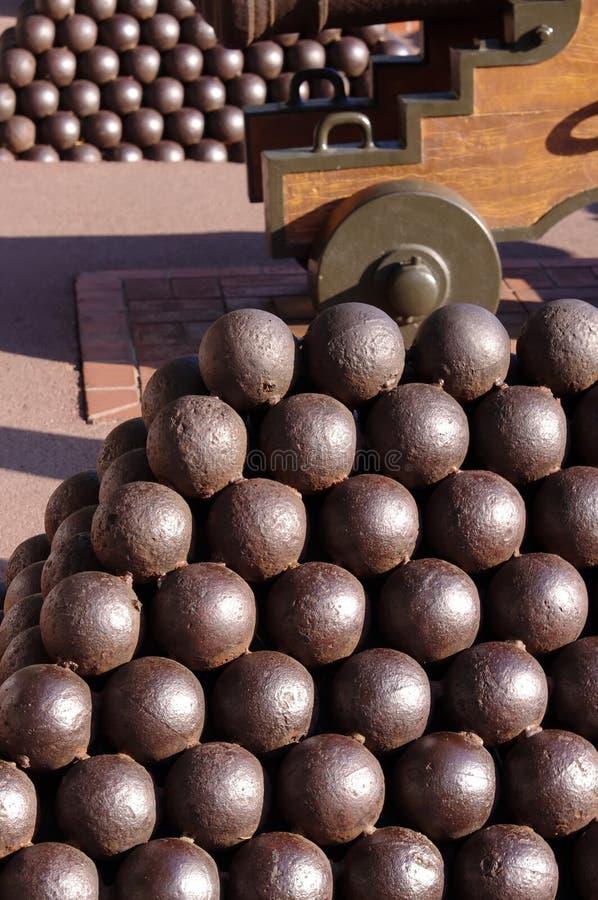 Canon balls at castle. Cannonballs near Prince Palace in Monte Carlo, Monaco stock image