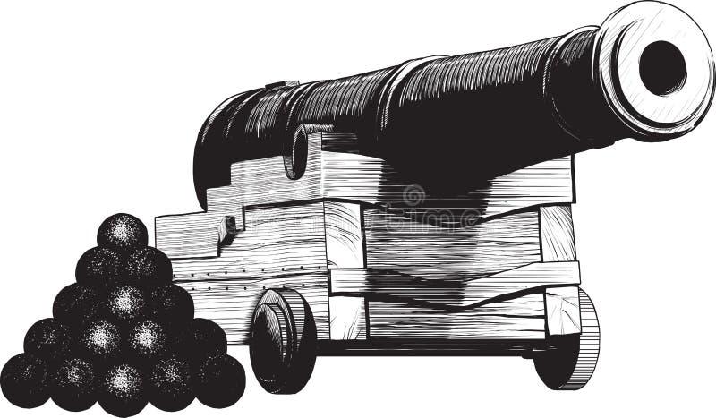 Cannone del blu marino illustrazione di stock
