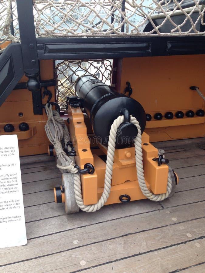 Cannone sul HMS Trafalger fotografia stock libera da diritti