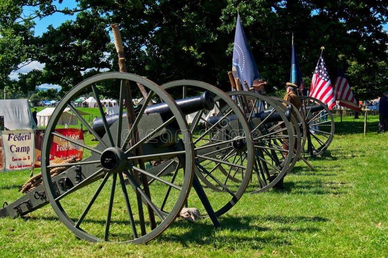 Cannoni americani dell'artiglieria di campo della guerra civile immagini stock