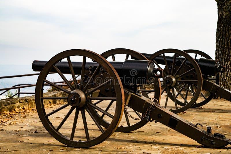 Cannoni della guerra civile, parco del punto, montagna dell'allerta, Tennessee fotografia stock
